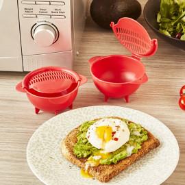 Lot de 2 cuit-œufs pochés micro-ondes