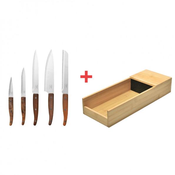 Le lot de 5 couteaux + le range-couteaux pour tiroir6771
