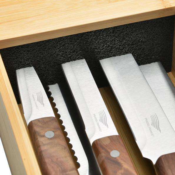 Le lot de 5 couteaux + le range-couteaux pour tiroir6773
