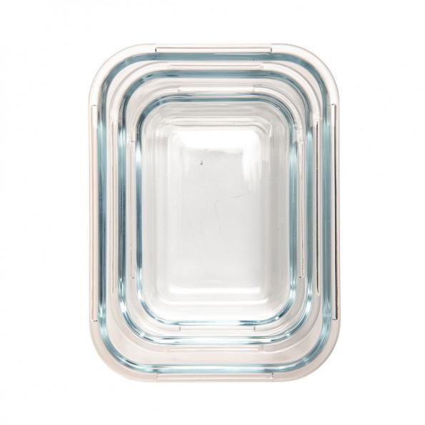 Lot de 3 boîtes rectangulaires en verre6873